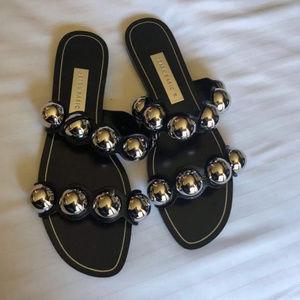 Zara Black Silver Metallic Deatails Sandals 38